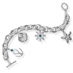 8 Nautical Style Charm Toggle Bracelet by SterlingSilverCharms, $199.00