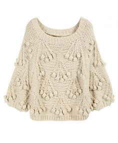 Beige Chunky Cherry Knit Jumper