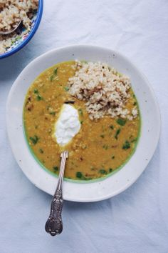Red Lentil, Caramelized Onion, Coconut Soup