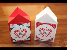 Mini Weihnachtshäuschen Stampin UP! - New Ideas Stampin Up Christmas, Christmas Gifts, Holiday, Web Box, Pink Smokey Eye, Soy Products, Origami Box, Origami Tutorial, Pretty Cats