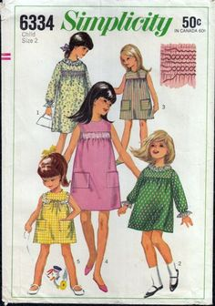 Vintage Sewing Pattern 1960s Childs Smock Empire Dress Simplicity 6334