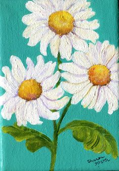 White Shasta daisies on Canvas painting bright by SharonFosterArt, $35.00