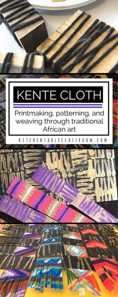 Print Art Kente cloth has bright colors, snappy geometric patterns. All of these qualities make this woven cloth a natural for inspiring art work in little people. African Art Projects, African Crafts, African Art For Kids, Montessori Art, Kente Cloth, Paper Weaving, Ecole Art, Art Curriculum, School Art Projects