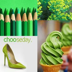 #chooseday: Going green is a choice. How green is your home? (Colour palette of bold, delicious and inspired greens: matcha gelato, Jimmy Choo stilettos, euphorbia and green pencils!)