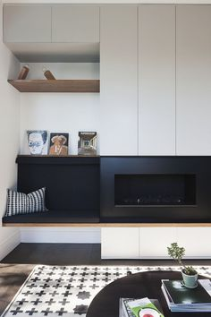 Very Clean Lines, Simple Wall Panel Detail. Modern Inglenook. Linear Gas  Fireplace.