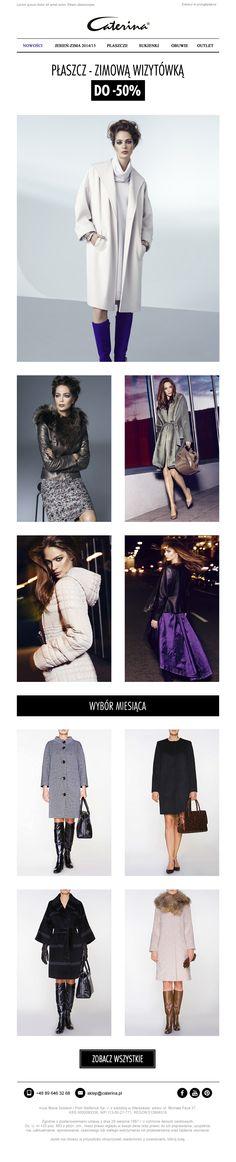 Newsletter promujący kolekcję kurtek i płaszczy marki Caterina. #caterina #newsletter #email #coats