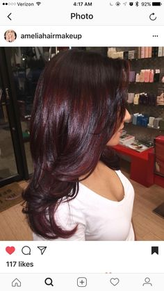 Ideas For Hair Color Burgundy Plum Ombre Dark Cherry Hair Colors, Fall Hair Colors, Red Hair Color, Black Cherry Hair Color, Medium Hair Styles, Curly Hair Styles, Wine Hair, Burgundy Hair, Hair Highlights