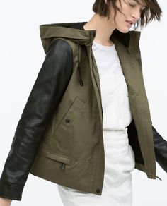 Ref ZA 2015 New female Genuine Army Green Coats Jackets Hooded parka with leather effect sleeve Women Short Outerwear Zara Jackets, Outerwear Jackets, Coats For Women, Jackets For Women, Short Jackets, Anorak, Summer Jacket, Hooded Parka, Green Coat