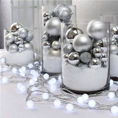 Frosted Cool White Mini Globe Battery String Lights with Tim.- Frosted Cool White Mini Globe Battery String Lights with Timer, Strand of 100 Weihnachsdeko - Silver Christmas Decorations, Gold Christmas, Outdoor Christmas, Christmas Home, Christmas Wreaths, Christmas Ornaments, Winter Wonderland Decorations, Winter Wonderland Christmas Party, Winter Party Decorations
