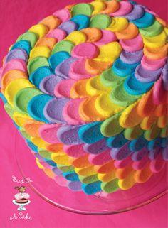 Bird on a Cake - Rainbow petal cake using #12 tip