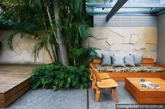 A modern courtyard garden from Good Manors Pools + Gardens. Outdoor Seating, Outdoor Rooms, Outdoor Living, Outdoor Decor, Modern Courtyard, Courtyard Design, Courtyard Ideas, Courtyard Gardens, Modern Landscaping