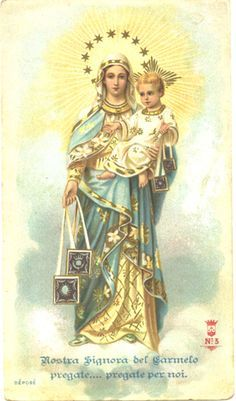 Virgin of Carmel & Baby Jesus Vintage French by Blessed Mother Mary, Blessed Virgin Mary, Catholic Art, Catholic Saints, Roman Catholic, Religious Images, Religious Art, Religion, Mont Carmel
