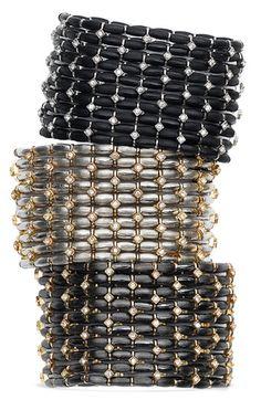 Cara Accessories Metal & Crystal Station Stretch Bracelets $58 #nordstroms