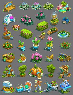 Game art 295196950574049202 - Several models for the farm game. All concepts and models are made by me. Overpainting by Nadia Pohotina. Source by maidenbear Game Level Design, Game Design, Flower Games, Art Decor, Decoration, Farm Games, Casual Art, 2d Game Art, Digital Illustration