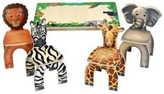 The Safari Table with Animal Stools by Anatex. Each chair is a different animal to complete the safari theme.