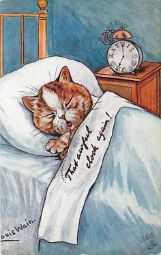 """""""That Awful Clock Again!"""" by Louis Wain ~ Antique UK Postcard I Love Cats, Cool Cats, Louis Wain Cats, Vintage Cat, Cat Drawing, Oeuvre D'art, Cat Art, Cats And Kittens, Cat Lovers"""