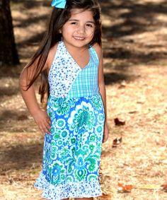 Loving this Blue Damask Floral Halter Dress - Toddler & Girls on #zulily! #zulilyfinds