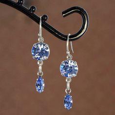 Sadie Green's Swarovski Crystal Earrings in Light Sapphire