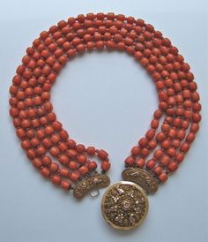 pinterst coral jewelry | Antique coral necklace, Dutch, ornate cannetille 14k+ rose gold clasp ...
