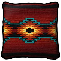 Southwest Geometric Deep Red Pillow Dry Clean Only. Made in USA! Matching throw available. Perfect addition to your Southwest decor. inches, bound in black, solid black on reverse side. Tapestry Crochet, Red Pillows, Throw Pillows, Throw Blankets, Wool Pillows, Accent Pillows, Cushions, Cow Skull Art, Shopping