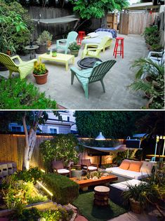 From top: our garden in 2009, and in 2013.
