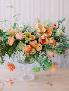 Orange wedding centerpiece inspiration - Orange and peach flowers, paired with delicate white and muted green foliage. Floral Centerpieces, Wedding Centerpieces, Floral Arrangements, Wedding Bouquets, Greenery Centerpiece, Table Arrangements, Love Flowers, Fresh Flowers, Beautiful Flowers
