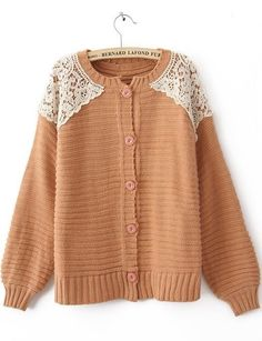 Super cute! Pink Long Sleeve Shoulder Lace Cardigan Sweater #Sheinside