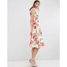 ASOS Lace Side Midi Skater Dress In Floral Print ($29) ❤ liked on Polyvore featuring dresses, multi, v neck skater dress, floral dresses, floral midi dress, floral skater dress and floral fit and flare dress