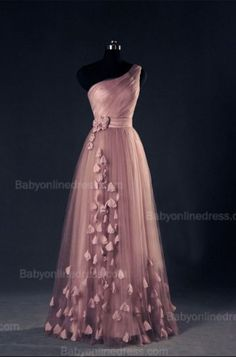 Tulle Evening Dress,Pink Evening Dresses,One Shoulder Prom Gown,A Line Flower Appliques Fitted Corset Elegant Prom Gowns Pink Evening Dress, Pink Dress, Evening Dresses, Pink Tulle, Dress Summer, White Dress, Spring Summer, Elegant Dresses, Pretty Dresses