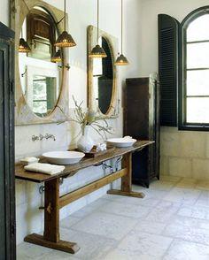 bathroom vanity- industrial old world bathroom design. Beautiful Bathrooms, Modern Bathroom, Design Bathroom, French Bathroom, Modern Sink, Sink Design, Bathroom Interior, Ideas Hogar, Bath Storage