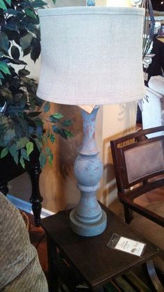 Blue distressed lamp