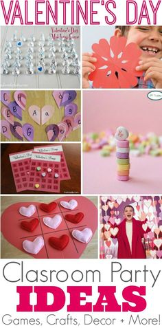 25 Creative Valentine's Day Class Party Ideas with classroom games, crafts, decor and more La Saint-Valentin orie Kinder Valentines, Valentines Day Activities, Valentines Day Party, Valentine Day Crafts, Valentine Ideas, Valentines Party Ideas For Kids Games, Valentine Games, Valentines Party Decorations, Craft Party
