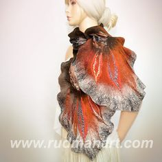 Felted Scarf made of Wool and Silk Gray Dark Brown by RudmanArt, $129.00