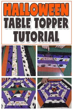 Full free step-by-step video and written instructions. Made with jelly roll strips or you can cut your own strips. A fun Halloween sewing project. Halloween Crafts To Sell, Halloween Sewing Projects, Easy Halloween, Halloween Jelly, Halloween Kitchen, Table Topper Patterns, Quilted Table Toppers, Mug Rug Patterns, Dress Patterns