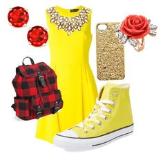 """""""#Disneybound#Belle"""" by niyafashion on Polyvore featuring Versace, Converse, Marc by Marc Jacobs, Mawi, Oscar de la Renta and Aéropostale"""