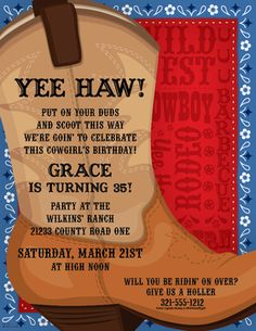 What a fun way to announce your next Western event!  A brown cowboy boot is printed against a blue bandana background and a bold red area with fun Western words like Wild West, Cowboy, and Rodeo.  Easy to print at home or we can personalize them for you!  Color-coordinating envelopes are sold separately.