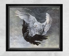 A white owl and black raven come together to create a yin-yang inspired composition representing the fragile (and even chaotic) struggle for balance in this violent mid-air battle between birds.  - High Quality Giclee Print on Fine Art Paper - Sizes: 8x8, 10x8, 10x10, 12x10, 12x12, 14x11, 14x14, 16x16, 20x16, 20x20, or 24x20 - Framed: No - Original Artwork: Acrylic on Illustration Board  This is a reproduction print of the original acrylic painting by Rebecca Magar.