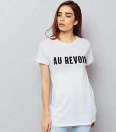 White Au Revoir Print T-Shirt