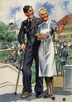 """""""Women working for you""""    German ww2 postcards showing some of the jobs German women were doing."""