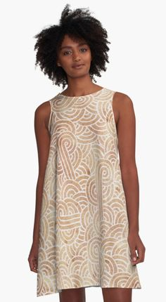 Iced coffee and white swirls doodles A-Line Dress by @savousepate on @redbubble #pattern #abstract #modern #graphic #geometric #boho #brown #neutralcolors #alinedress #dress #fashion #clothing #apparel