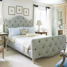 Oversize furniture emphasizes the large scale of this spacious bedroom: http://www.bhg.com/rooms/bedroom/master-bedroom/beautiful-boudoirs/?socsrc=bhgpin032114livinglarge&page=6