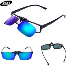 99513f308c VEGA Spring Polarized Clip On Sunglasses For Prescription Glasses Over  Sunglasses Flip Up Glasses Clip On Shades 110