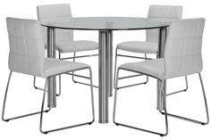 Set includes:Round table and four side chairs    Update your dining space with the contemporary Napoli dining tableset. Enjoy the aesthetic beauty of chrome and glass, plusthe comfort of tufted, upholstered seats as you reinvent your home's interior with the simple elegance of modern design.