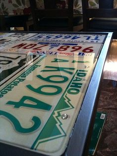 Cool table; license plates and resin...