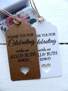 personalised wedding favour gift tags thank you guest label kraft