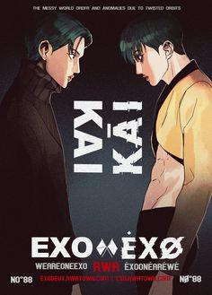 Credit to the owner Exo Kai, Exo Xiumin, Lay Exo, Exo Ot12, Exo Anime, Exo Fan Art, Kim Jong In, Kpop Fanart, Typography Logo