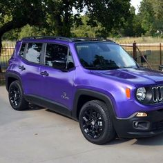 """Jeep Renegade in HKS Purple Pearl mixed in DYCTC, then topped off with DYC Topcoat, with gloss black roof and accents for a """"TCU"""" theme! All it needs now is the TCU Decal for the hood and it's ready for delivery! #Dippers #DYC #liquidwraps #dipping #liquidwrapnation #dipyourcar #Jeep #Renegade #TCU"""