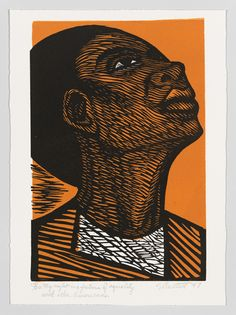 Elizabeth Catlett ~ My right is a future of equality with other Americans (from the series I am the Black woman), 1947 (linocut)