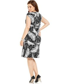 jones ny signature plus size dress, sleeveless black white printed