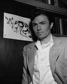James Mason beside one of his cat illustrations James Mason, Old Hollywood Stars, Classic Hollywood, Japanese Film, Louis Williams, Gorgeous Men, Beautiful People, Man Photo, Movie Stars